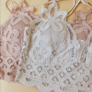 CALLIE LACE BRALETTE Pink color